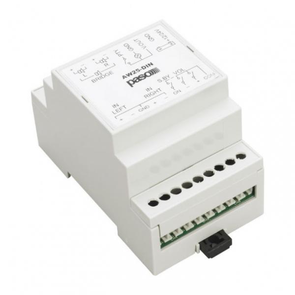 PASO AW25R-DIN Стерео усилитель мощности с регулировкой громкости для установки на DIN рейку